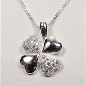 Jewelry - STERLING SILVER SPARKLING 4 LEAF CLOVER NECKLACE